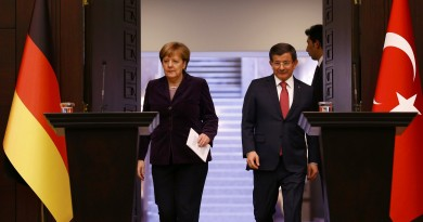 German Chancellor Angela Merkel (L) and Turkish Prime Minister Ahmet Davutoglu arrive for a joint news conference in Ankara, Turkey February 8, 2016. REUTERS/Umit Bektas